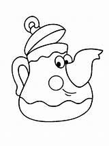 Coloring Teapot Tea Pot Children Funny Clip Printable Colouring Cup Cups Sheet Fullsize Fancy Template Hearts Preschool Adults sketch template