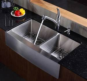 kraus 36 inch farmhouse apron 60 40 double bowl stainless With 34 inch farmhouse sink