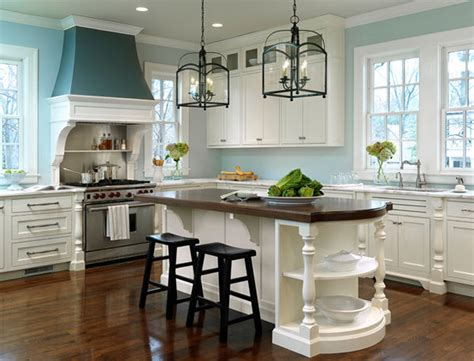 gorgeous white kitchen with light blue walls and for