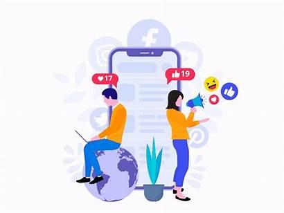 Social Marketing Illustration Flat Dribbble Vector Users