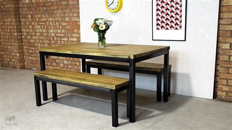 industrial dining table  benches