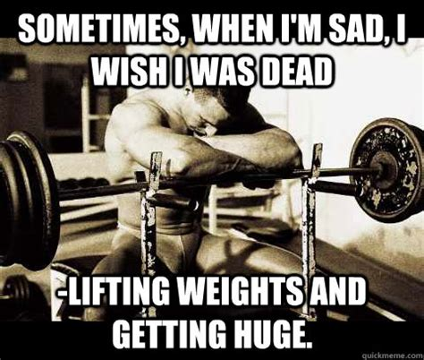 Heavy Lifting Meme - sometimes when i m sad i wish i was dead lifting weights and getting huge bodybuilder