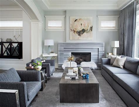 gray living room  gray striped marble fireplace