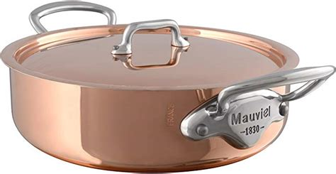 mauviel   france mheritage copper    quart rondeau  lid  cast