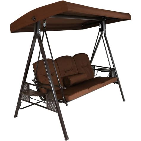 3 Person Porch Swing sunnydaze decor 3 person steel porch swing with brown