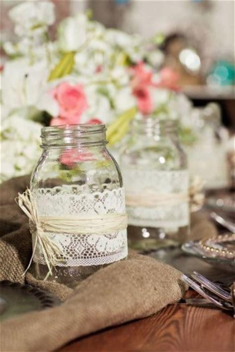 candles mason jars  lace ribbon burlap neutral