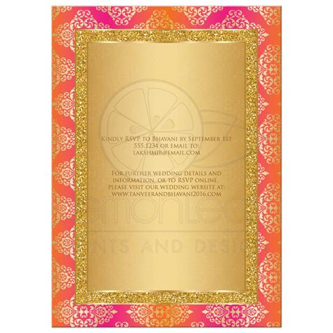 wedding invitation fuchsia orange gold damask faux