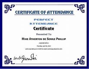 perfect attendance certificate template word excel With certificate of attendance template microsoft word