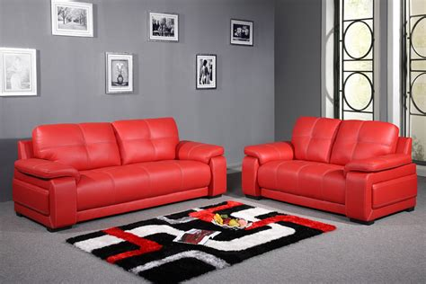 leather look sofa set contemporary style living room with red leather sofa set