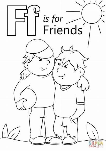 Coloring Letter Friends Pages Friendship Preschool Printable