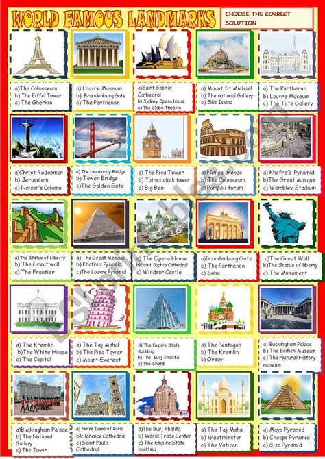 world landmarks multiple choice esl worksheet  spied