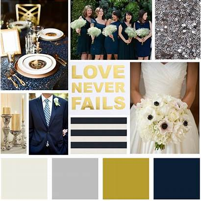 Navy Gold Silver Board Theme Colors Flowers