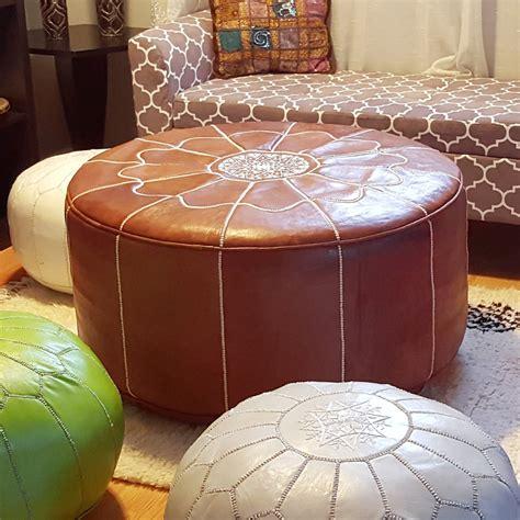 moroccan pouf ottoman ikram design genuine leather xl moroccan pouf