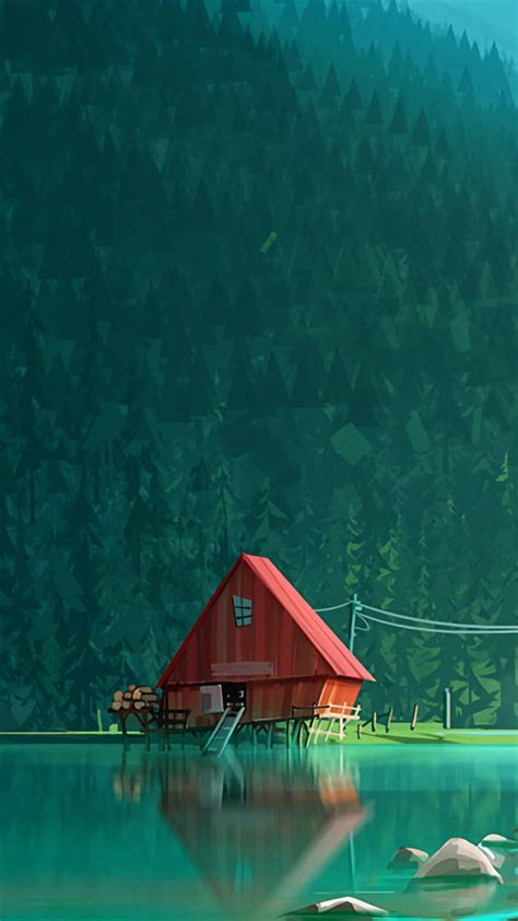 Also explore thousands of beautiful hd wallpapers and background images. House In Woods Minimalism Artwork Kk Wallpaper - 1080x1920