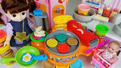 baby doll kitchen  play doh cooking toys refrigerator
