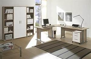 Büro Set Möbel : arbeitszimmer m bel komplett set b ro b rom bel office line in eiche sonoma weiss glanz 7 ~ Indierocktalk.com Haus und Dekorationen