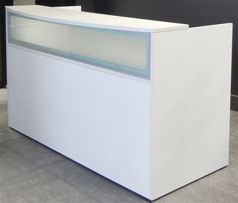 reception desk modern office rectangular white reception desk w frosted glass panel