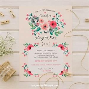 vintage wedding invitation with watercolor flowers vector With vintage flowers wedding invitations vector