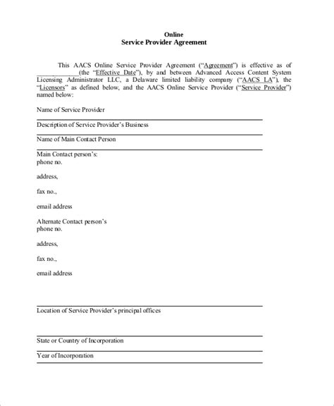 sample service agreements  word