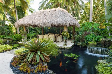 Water Garden With Tiki Hut, Koi Pond And Bridge