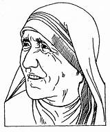 Teresa Nun Coloring Pages Cliparts Colouring St Template Calcuta Clipart Favorites Madre sketch template