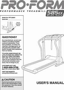 Proform 585 Ex Wide Deck No Pftl58581 Users Manual