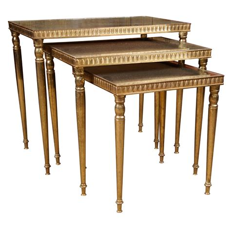 antique glass table ls set of three brass and antique glass nesting tables at 1stdibs