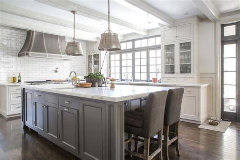 white kitchen with gray island white kitchen island with gray velvet counter stools 1835