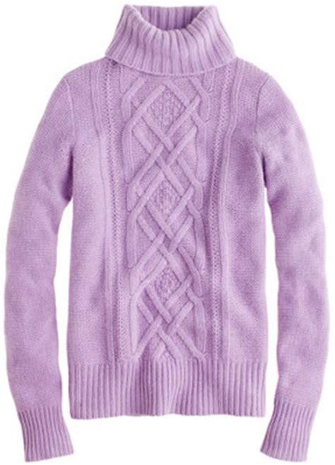 lilac sweater j crew cambridge cable turtleneck sweater in purple iced