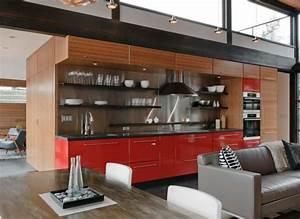 50 idees originales pour la deco cuisine rouge moderne With idee deco cuisine avec objet deco design rouge