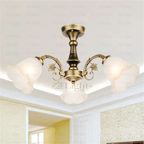simple 3 light glass shade semi flush antique ceiling