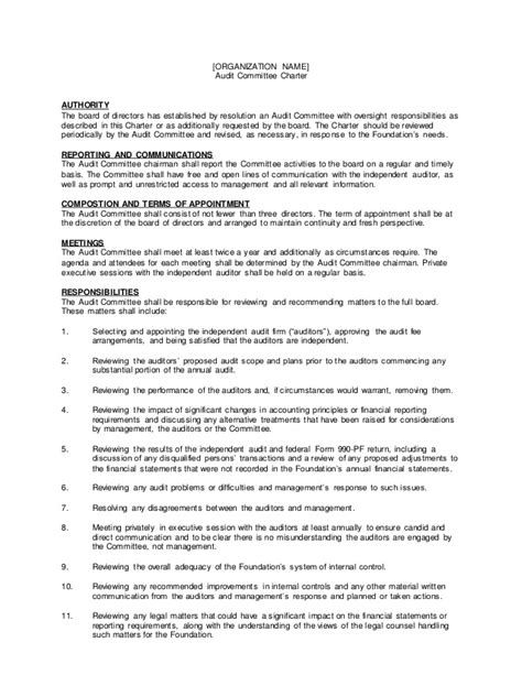 committee charter template audit commmitte charter template