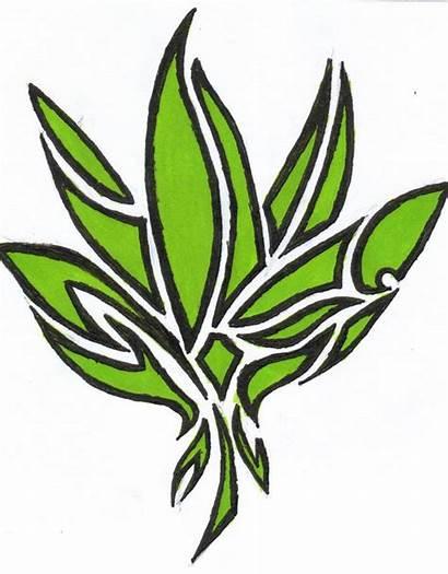 Weed Leaf Pot Tattoo Symbol Tribal Cartoon
