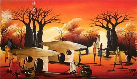 acrylics original steve african village painting