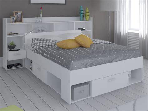 lit adulte avec rangement integre lit t 234 te de lit kylian rangements 140x190 200 cm blanc