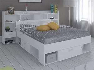 Lit 140 Avec Rangement : lit t te de lit kylian rangements tiroirs 140x190cm blanc ~ Teatrodelosmanantiales.com Idées de Décoration