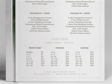 wedding photographer pricing guide price sheet list  cursive