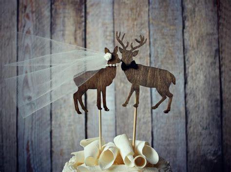 buck  doe bride  groom deer wedding cake topper