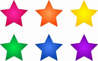 Stars Clip Clipart Star Colorful Colored Six