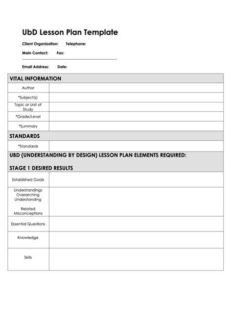 fillable ubd lesson plan template printable