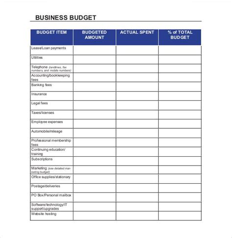 small business budget templates   xlsx