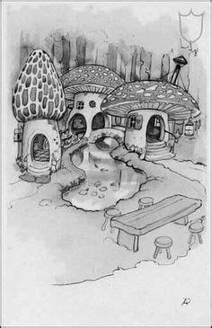 cool mushroom drawings mushroom house illustration