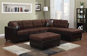 chocolate microfiber reversible sectional mallory collection With chocolate brown microfiber small sectional sofa with reversible chaise ottoman