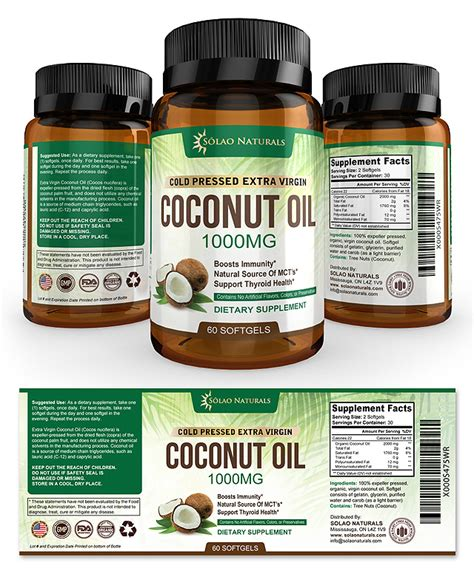 virgin coconut oil supplement label template