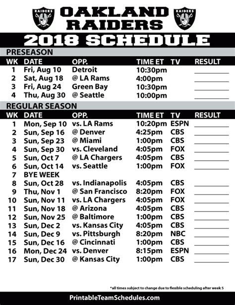 oakland raiders printable schedule raiders