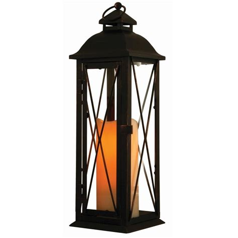 Smart Design Siena 16 in. Antique Brown LED Lantern with