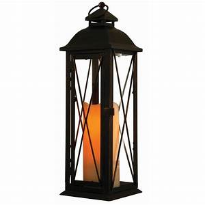 Smart Design Siena 16 in. Antique Brown LED Lantern with ...