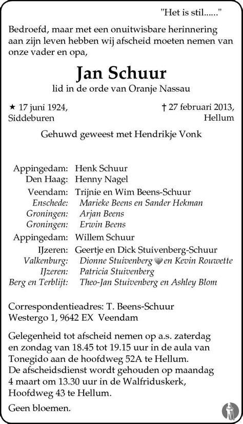 Jan Schuur by Jan Schuur 27 02 2013 Overlijdensbericht En Condoleances