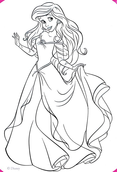 Coloring Princess by Walt Disney Coloring Pages Princess Ariel Walt Disney