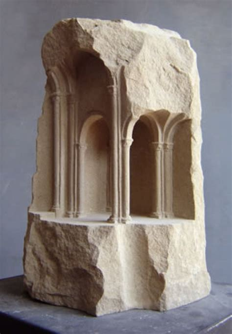 artist creates small scale sculptures  ancient ruins